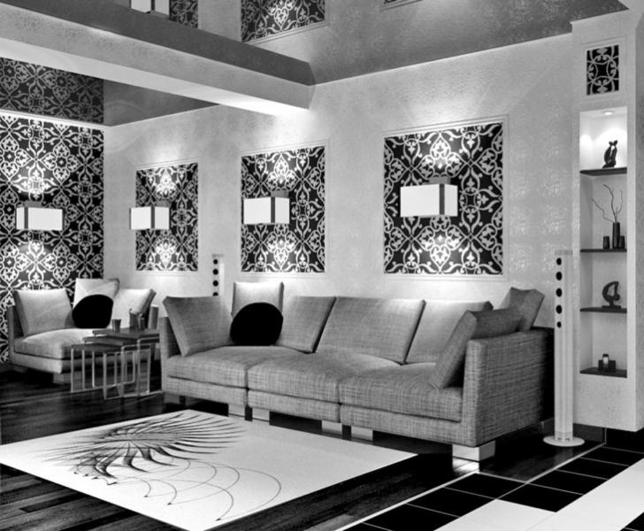 Дизайн стен обоями двух цветов, изменение формы комнаты