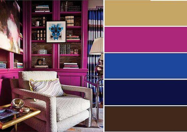 С чем и как сочетать цвет фуксия при оформлении интерьера